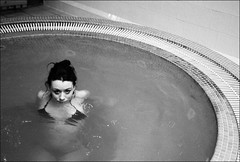 partially submerged girl in jacuzzi (gorbot.) Tags: blackandwhite bw hotel jacuzzi f2 roberta pitlochry mmount leicam8 digitalrangefinder biogon352zm athollpalace carlzeiss35mmbiogonf2zm