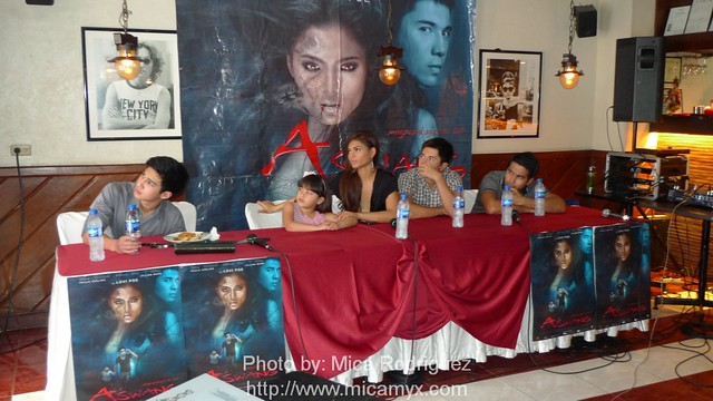 The cast of Aswang while watching the trailer
