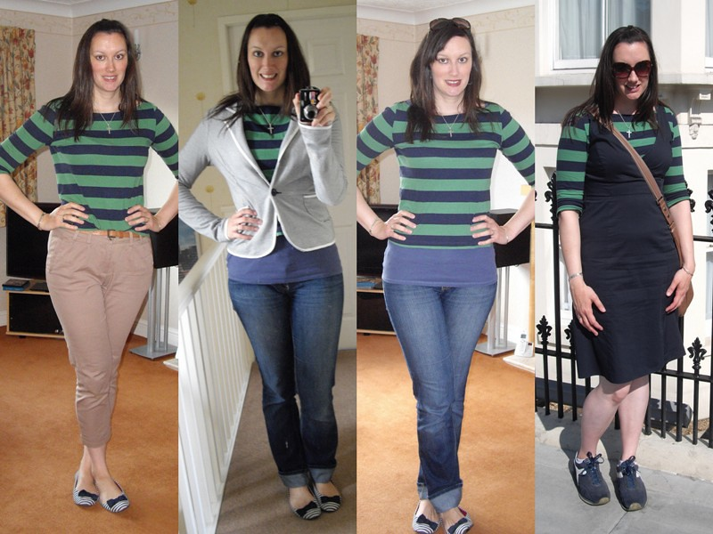 Green & navy stripe top collage 1