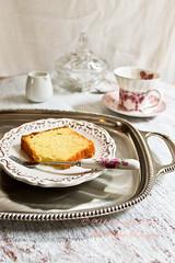 Butter cake at Tea Time... (Smoky Wok (Jasmine)) Tags: cakes cake baking tea desserts sweets teatime coffeebreak poundcake silvertray foodphotography buttercake donotsteal foodstyling bakingathome smokywok buttercakebutter plainbuttercake homemadebuttercake
