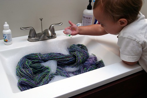 soapy water (and yarn)