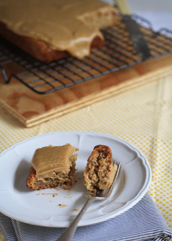 Gluten Free Banana Cake with Caramel Icing