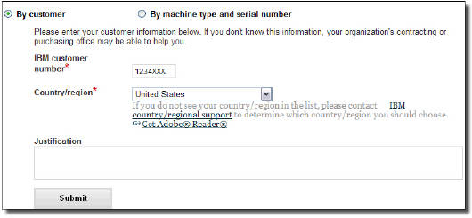 "Request access by enter the ICN, selecting the country and clicking the ""Submit"" button"