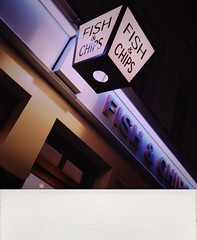 Fish and chips (Meral Crifasi) Tags: london night polaroid fishandchips spitafields shakeitapp iphone4s