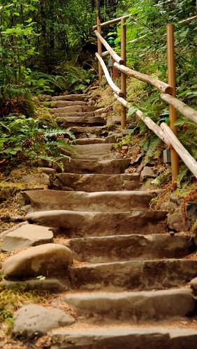 Stone slab staircase with wooden pole hand rails, Breitenbush Hot Springs, Breitenbush, Marion County, Oregon, USA by Wonderlane