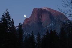 Moon and Half Dome - 2 (Rick Whitacre) Tags: moon fullmoon yosemite halfdome yosemitenationalpark sentinelbridge