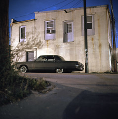 (patrickjoust) Tags: auto street city urban usa color classic 120 6x6 tlr film car night analog america dark square lens us reflex md focus automobile long exposure fuji mechanical united release tripod north gray patrick twin maryland slide cable baltimore mat v chrome 124g epson after medium format states tungsten manual 500 80 joust fujichrome e6 yashica hampden estados 80mm f35 unidos yashinon v500 t64 autaut patrickjoust