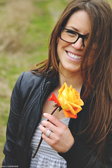 Stace (Travis Cuykendall) Tags: flower girl beautiful leather rose female glasses model nikon pretty bokeh stacy jacket 28 rayban 1755 d300