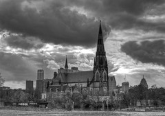 Medieval (Notkalvin) Tags: blackandwhite bw storm church skyline clouds contrast canon gm michigan detroit storms rencen renaissancecenter gmbuilding wickedsky notkalvin