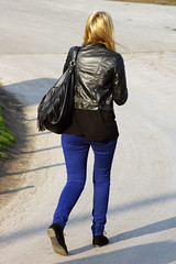Leather Jacket (LeatherCandid) Tags: street girls public girl leather fetish walking photography shot pants boots shots candid coat streetshots tights jeans jacket gloves photograph heels latex glove trousers nylon streetshot clad