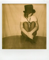 Life is a cabaret no 1 (@n) Tags: blackandwhite girl nude polaroid 600 tophat cabaret instantphotography