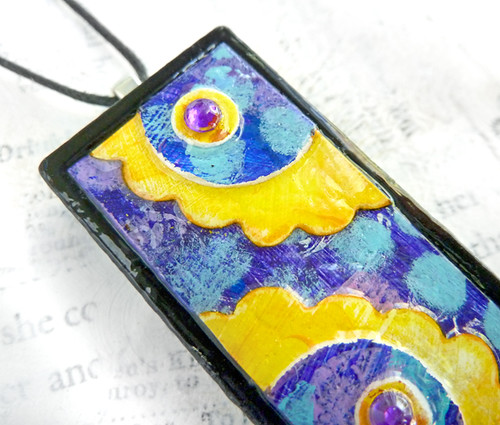 Blooming Brightly Fine Art Domino Pendant