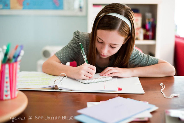 writing at desk