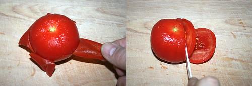 31 - Tomate schälen und in Scheiben schneiden