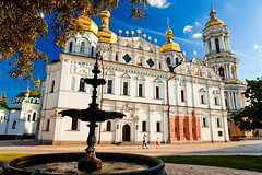 Kiev Pechersk Lavra / -  (filchist) Tags: autumn sun fountain clouds gold bluesky ukraine kiev  kievpechersklavra