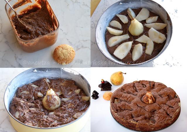 ricetta con foto preparazione torta al cioccolato e pere con amaretti