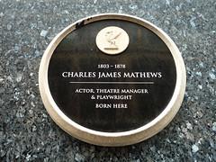 Photo of Charles James Mathews black plaque