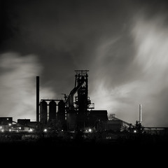 Zug Island: Study II (Jeff Gaydash) Tags: longexposure blackandwhite night square industrial detroit riverrouge zugisland steelmill