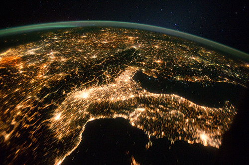 Central and Eastern Europe at Night (NASA, International Space Station, 10/02/11)
