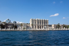Dolmabahce Palace from the Bosporus (Miche & Jon Rousell) Tags: blue sky west water ferry turkey river islam istanbul mosque east bosphorus dolmabahcepalace