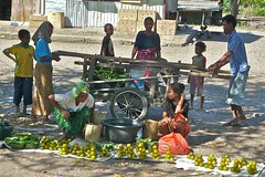 Small Market at Bus Stop from Motaain to  Dili, Timor Leste (Sekitar) Tags: bus asia market small stop timor leste easttimor dili timorleste earthasia osttimor motaain