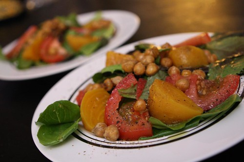 Baby Greens with Golden Beets, Crispy Chickpeas, and Tomato
