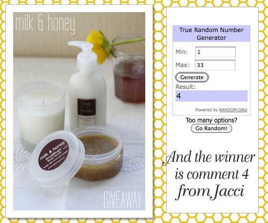 Milk & honey giveaway winner