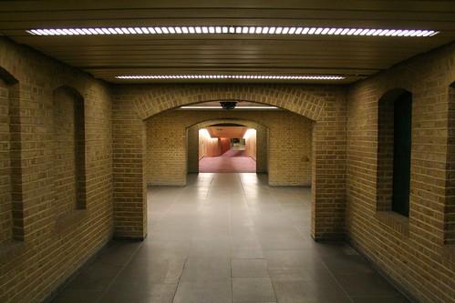 In the far end looking towards the long corridor