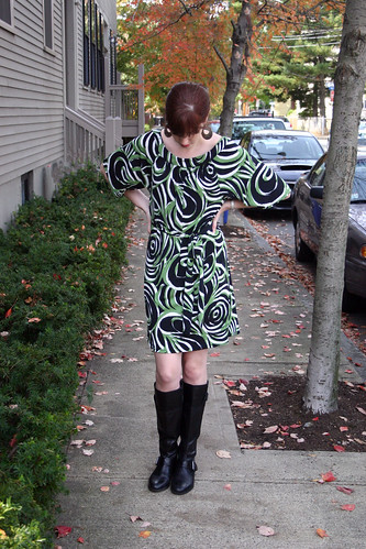 McCall 6200 green swirl dress