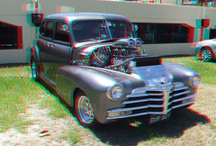Souped Up Rod at Jacobs Well Show 3D Anaglyph (ProLithic 3D) Tags: blue fiction red trooper hot color colour classic ford chevrolet car statue vintage garden t temple fire glasses fly stereoscopic 3d high model cross buddha space buddhist over platform cyan deep statues anaglyph scene science harley sharp full landing clear stereo chrome fantasy correct serenity definition scifi restored resolution rod parked hd fi vee clone davidson landed eight depth firefly v8 sci separation separated chev aligned correctly interocular