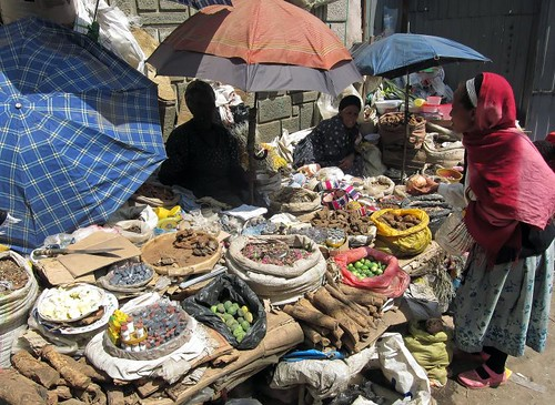 Perusing the spices at Addis's Merkato