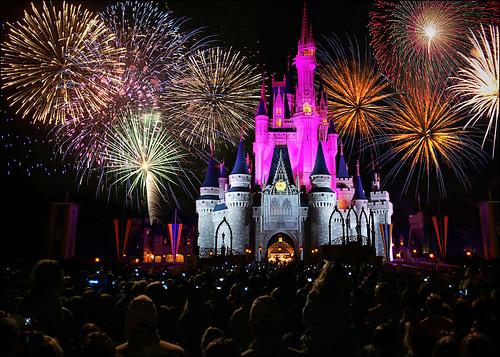Disney World Castle Fireworks Wallpaper  Desktop