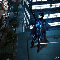 Batgirl 2 (Kim Dench) Tags: urban woman black sexy girl 3d avatar sl secondlife virtual latex batgirl femal superheroine cityofconcord