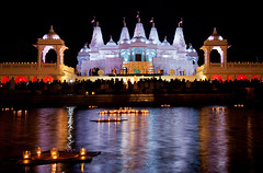 Adrift in Liquid Light (JLMphoto) Tags: atlanta festival night reflections georgia temple photography lights lowlight candles celebration diwali mandir baps shri lilburn swaminarayan 2011