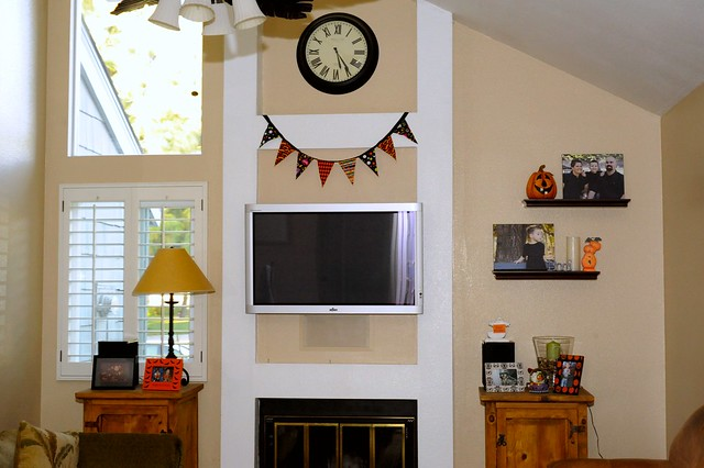 Family Room with Halloween Decorations