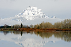 Oxbow Bend (bhophotos) Tags: trip travel trees usa mountain snow reflection nature water clouds river landscape geotagged nikon day snakeriver wyoming tetons grandtetonnationalpark gtnp oxbowbend mtmoran d700 jacksonholevalley 70200mmf28gvrii projectweather bruceoakley