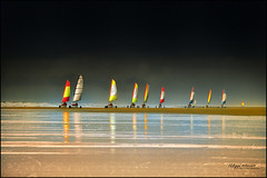 chars  voile en cascade ....[EXPLORED #29] (philippe MANGUIN photographies) Tags: sky france reflection beach water sport vent sand europe wind couleurs ciel groupe plage chars vende loireatlantique voiles sandyacht saintjeandemonts charsvoile mygearandme