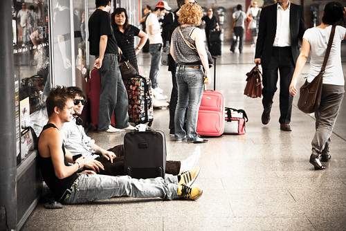 Weary Travellers in Roma Termini