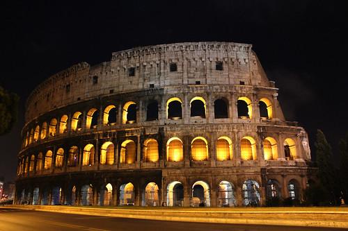 無料写真素材, 建築物・町並み, 遺跡, コロッセオ・コロッセウム, 風景  イタリア, 夜景
