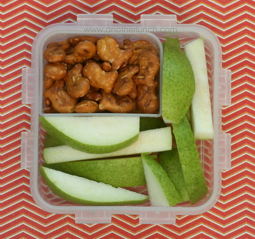 snack bento: pears and pretzels