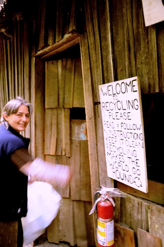 Actively recycling with a smile! Welcome to recycling, please read and follow instructions... Recycling shack, Breitenbush Hot Springs, Breitenbush, Marion County, Oregon, USA by Wonderlane