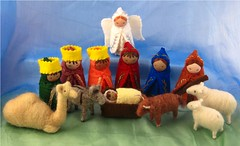 Wool Felt Nativity 2011 (Alkelda) Tags: christmas wool animal set joseph toy doll sheep shepherd embroidery mary jesus waldorf donkey felt ox camel needlefelting nativity threekings magi wisemen shepherdess naturalkids bossysfeltworks