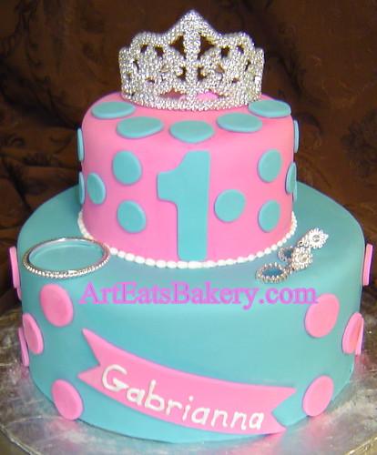 Decorating Ideas > Custom Unique Blue And Pink Fondant Polka Dot Girls  ~ 163039_Fondant Cake Ideas Girl Birthday