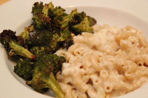 Mac and Cheese and roasted broccoli