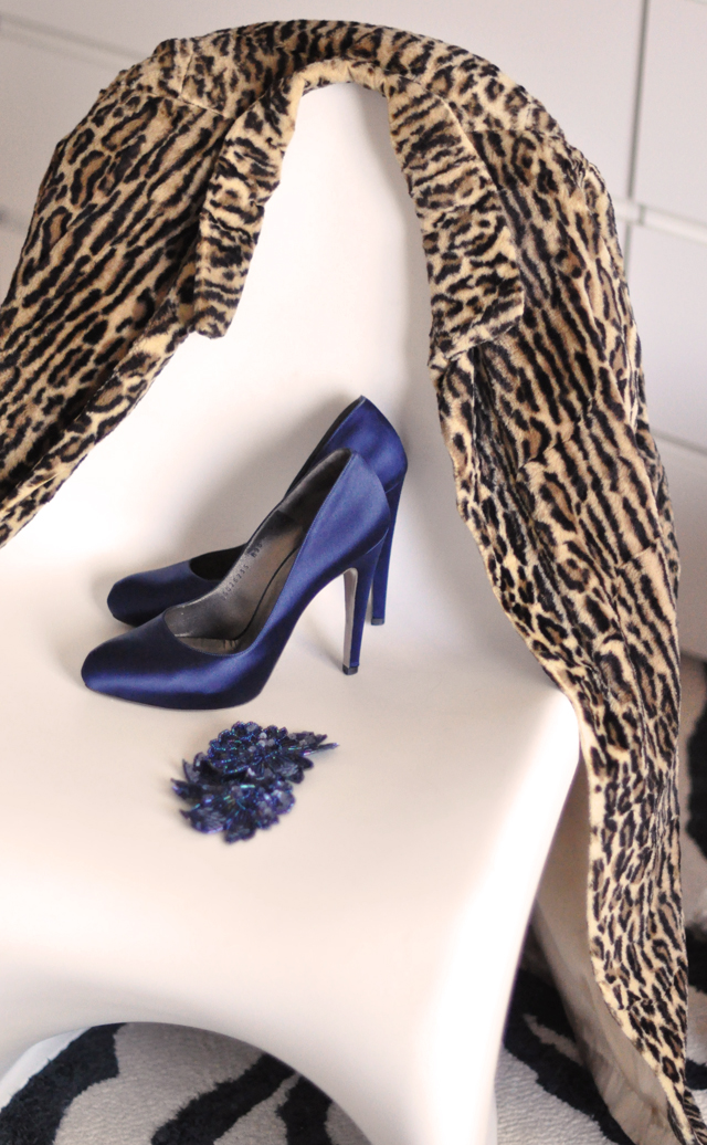 navy satin Ferragamo pumps -sequin pins-vintage leopard coat-panton chair-zebra rug