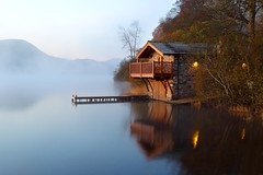 The Boat House (midlander1231) Tags: autumn england sky lake reflection water sunrise dawn lakes lakedistrict cumbria boathouse ullswater englishlakedistrict