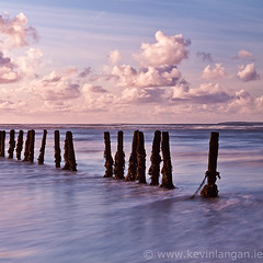 Poles in the Sand (Kevin Langan Landscape Photography) Tags: ireland sunset beach coast kerry ballybunion poles landscapephotography kevinlangan