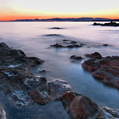 DSC1022 (dav_pas) Tags: longexposure light sunset seascape france night landscape island rocks long exposure artificial paca cap var rockscape esterel dramont poselongue lungaesposizione capdramont iledor milkyeffect portpoussai