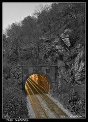 The Shining (Jon-Wright) Tags: railroad light blackandwhite railway tunnel trains moonlit wv november13 westvirginia harpersferry selectivecolor csx lightattheendofthetunnel
