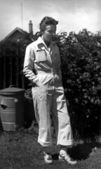 Pam (nee Seivewright) Chambers in wartime factory overalls